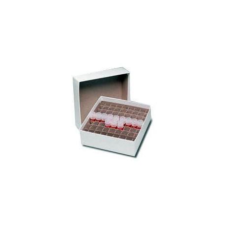 Caixa de Papelão 14,5 x 14,5 x 4,5 cm p/ 81 tubos de PCR 0,5 ml - Embalagem c/05 pçs