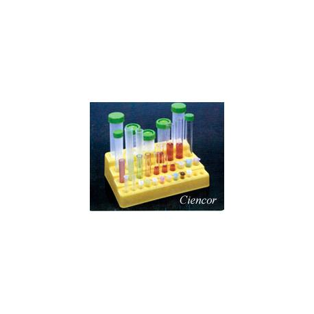 Rack 4 degraus -35 posições- p/tubos 50 ml /15 ml/12 x 75 mm/ 1,5 ml - Embalagem c/01 pç - Amarelo