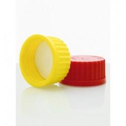 Tampa de rosca em Polipropileno - 140º- s/furo- com septo- Vermelha- GL25 -Laborglas